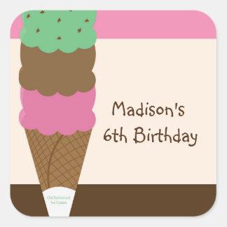 Triple Scoop Ice Cream Birthday Party Sticker