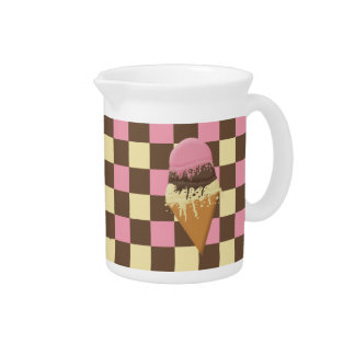 Triple-Scoop Ice Cream Cone Tri-color checkerboard Drink Pitchers