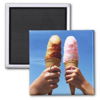 Triple Scoop Ice Cream Cones Fridge Magnets