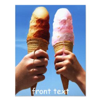 Triple Scoop Ice Cream Cones 4.25x5.5 Paper Invitation Card