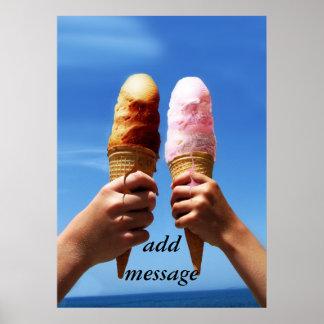 Triple Scoop Ice Cream Cones Poster