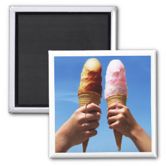Triple Scoop Ice Cream Cones Refrigerator Magnets
