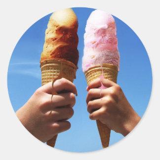 Triple Scoop Ice Cream Cones Round Sticker