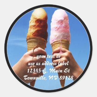 Triple Scoop Ice Cream Cones Classic Round Sticker