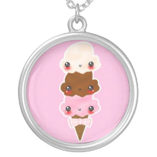 triple scoup kawaii kettink round pendant necklace