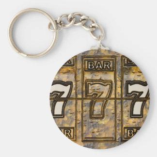Triple Sevens Slot Machine Reels Basic Round Button Key Ring