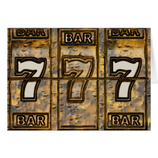 Triple Sevens Slot Machine Reels Greeting Card