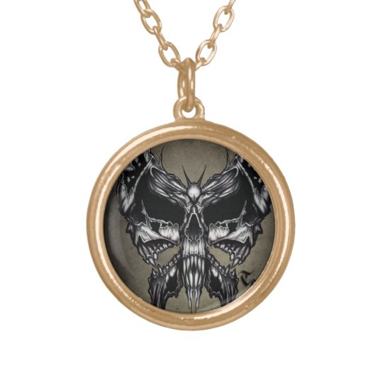 Triple skull butterfly gold plated necklace