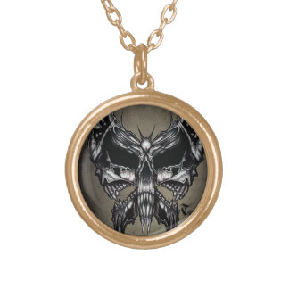 Triple skull butterfly necklaces