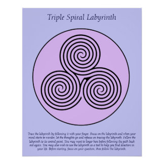 Triple Spiral Finger Labyrinth. Poster