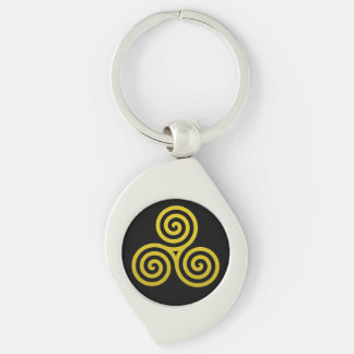 Triple Spiral Gold Silver-Colored Swirl Key Ring