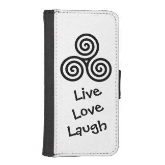 Triple spiral Live Love Laugh Black iPhone SE/5/5s Wallet Case