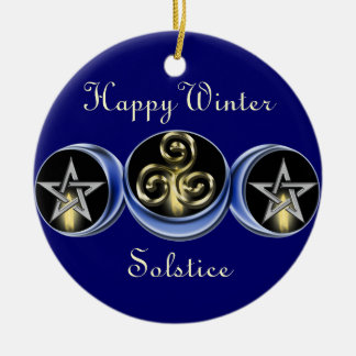 Triple Spiral Lunar Moon Tree Ornament circle