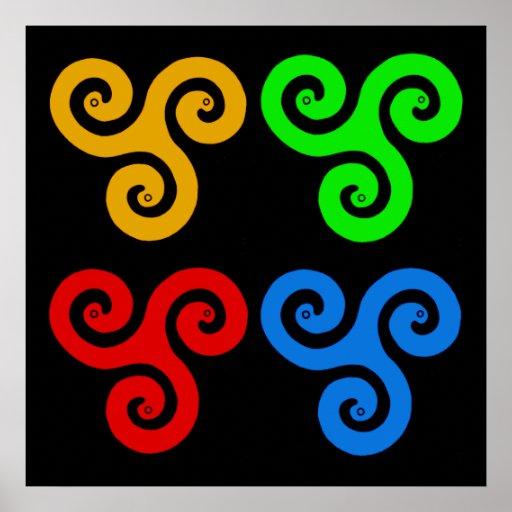 Triple Spiral Pop Art Poster