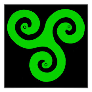 Triple Spiral Poster (Green)