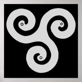 Triple Spiral Poster White
