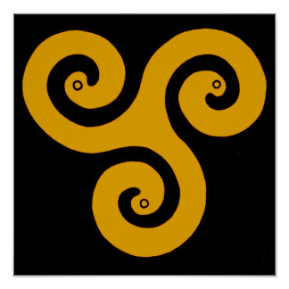Triple Spiral Poster (Yellow)