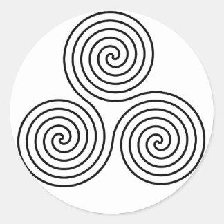 Triple spiral symbol. classic round sticker