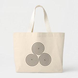 Triple spiral symbol. jumbo tote bag