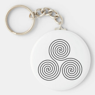 Triple Spiral Symbol Key Ring