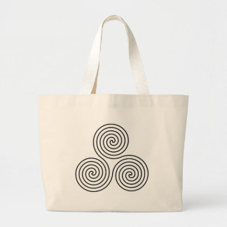 Triple spiral symbol. large tote bag