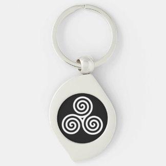 Triple spiral White Silver-Colored Swirl Key Ring