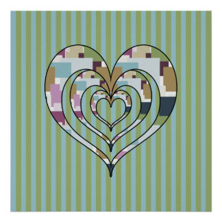 TRIPLE SQUARED HEART POSTER