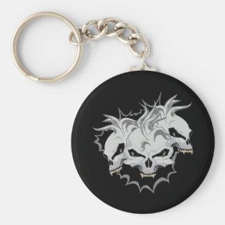 Triple Terror Skulls Basic Round Button Key Ring