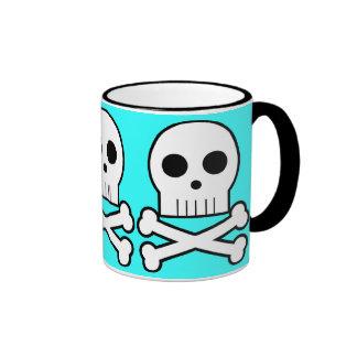 Triple Threat Pirate Skulls Coffee Cup Aqua Mugs