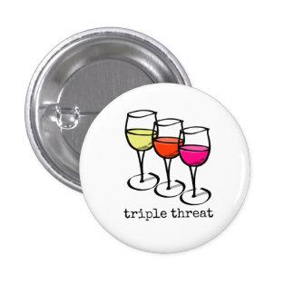 Triple Threat Wine Glasses 3 Cm Round Badge
