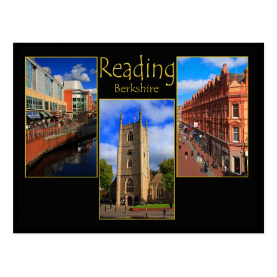 Triple view postcard of Reading, Berkshire England