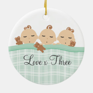 Triplet babies pregnancy baby shower teddy bears round ceramic decoration
