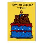 triplet bears on 1st birthday cake card