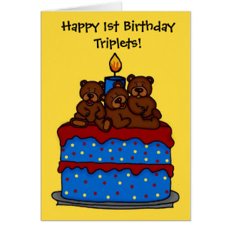 triplet bears on 1st birthday cake card