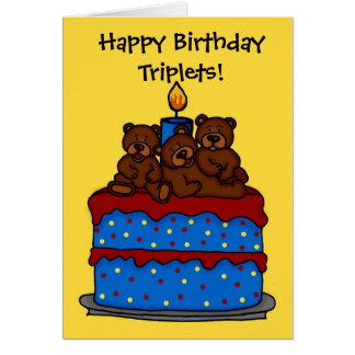 triplet bears on birthday cake card