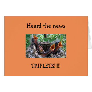 TRIPLET BIRTH CONGRATS=TRIPLE SINGING BIRD BABIES GREETING CARD