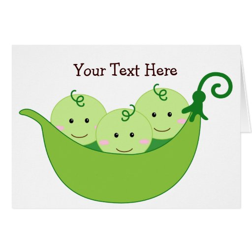 Triplet Pea Pods (customizable) Greeting Cards