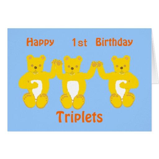 Triplets Birthday Card, add year/names