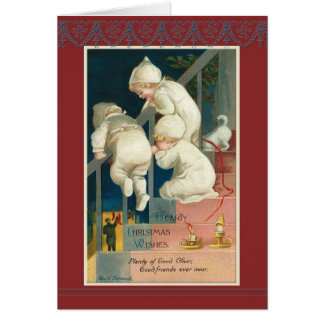 Triplets Christmas staircase Ellen H. Clapsaddle Greeting Card