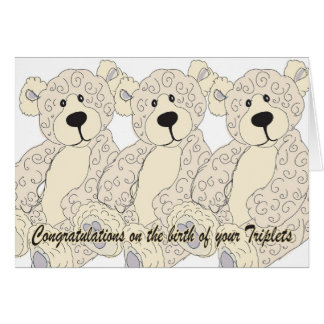 Triplets Congratulations Teddy Bear in creams Greeting Card
