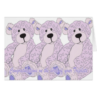 Triplets Congratulations Teddy Bear in pink Card