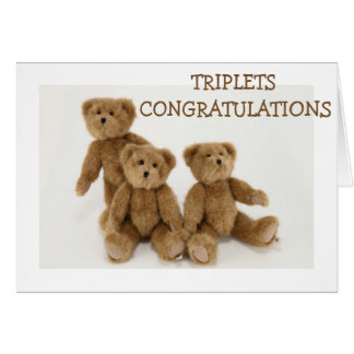 """TRIPLETS"" CONGRATULATIONS=TRIPLE LOVE HUGS KISSES GREETING CARD"