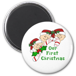 Triplets First Christmas Candy Cane 6 Cm Round Magnet