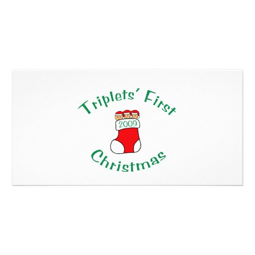Triplets First Christmas Picture Card