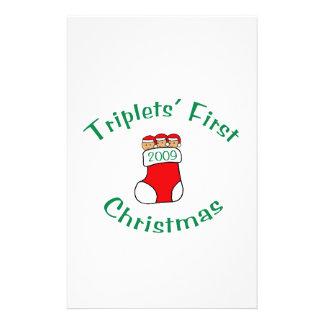 Triplets First Christmas Custom Stationery