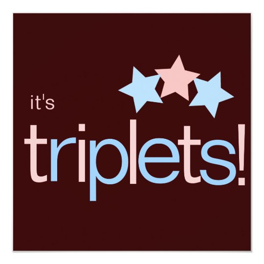 Triplets Stars Pink Blue Brown Baby Shower Card