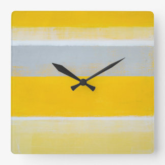 'Tripped' Grey and Yellow Abstract Art Clock