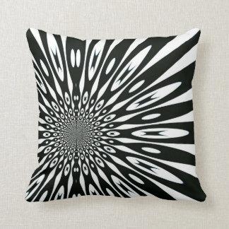 Trippy Black White Optical Pattern Cushion