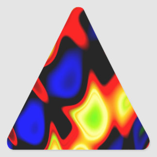 Trippy Blue Red Yellow Abstract Triangle Sticker