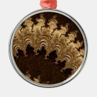Trippy Coffee Cream Fractal Art Christmas Ornament